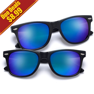 8616dcfed9 2 Pack Classic Matte Black Horn Rimmed Colorful Purple Blue Mirrored ...
