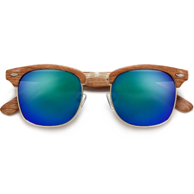 f02aee2cc81 Colorful Reflective Mirrored Lens Classic Clubmaster Sunglasses