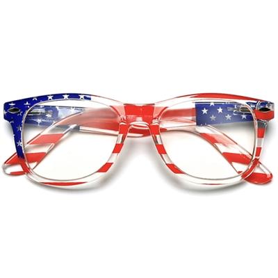 9abf4529d8 4th July US. Flag Clear Lens Non Prescription Wayfarer Glasses
