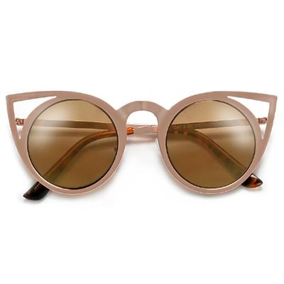 6c01bf4558 Modern Cat Eye Silhouette Ultra Light Weight Metal Frame Sunglasses