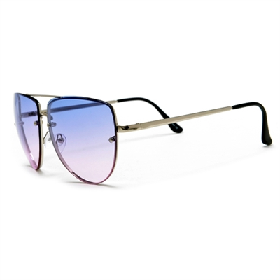 57882891b2b Rimless Frame Colorful Ombre Lens Flat Top Aviator Sunglasses