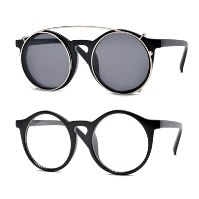 872ed128ac43 52mm Large Round Keyhole Bridge Vintage Sunglasses to Clear Lens Glasses