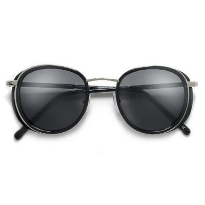 Round Retro 53mm Full Coverage Metal Trim Frame Sunglasses