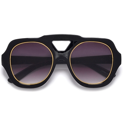 b3b551bb782 Bold Thick Frame Large Round Outlined Metal Trim Lens Chic ...