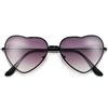 Adorable 58mm Metal Heart Frame Sunglasses