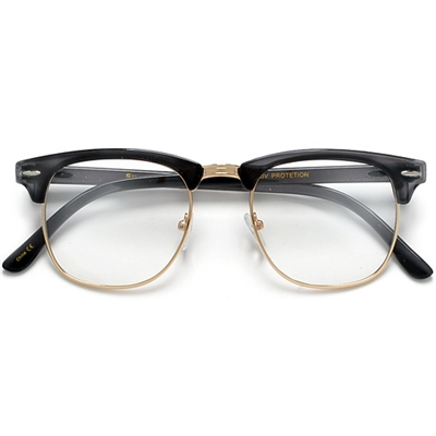 Retro Inspired Half Frame Semi-Rimless White/Gold Clear Lens ...
