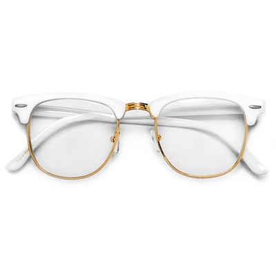 retro inspired half frame semi rimless whitegold clear lens clubmaster style glasses
