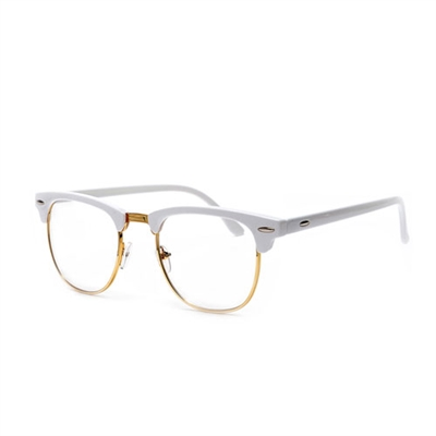 Rimless Clear Glasses : Retro Inspired Half Frame Semi-Rimless White/Gold Clear ...