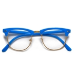 Bright Colorful Half Frame Semi Rimless Clear Lens Clubmaster Style Glasses