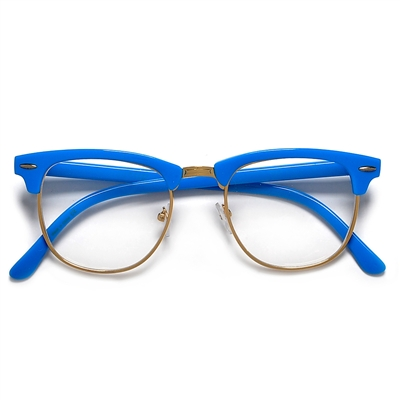 562b7a94ac9 Bright Colorful Half Frame Semi Rimless Clear Lens Clubmaster Style Glasses