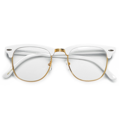 Bright Colorful Half Frame Semi Rimless Clear Lens Clubmaster Style ...